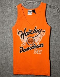 Harley Davidson Orange Tank Top w/Bling